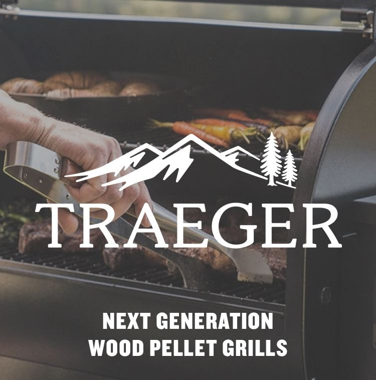 "Man grilling on Traeger grill with logo - ""Next Generation Wood Pellet Grills"""