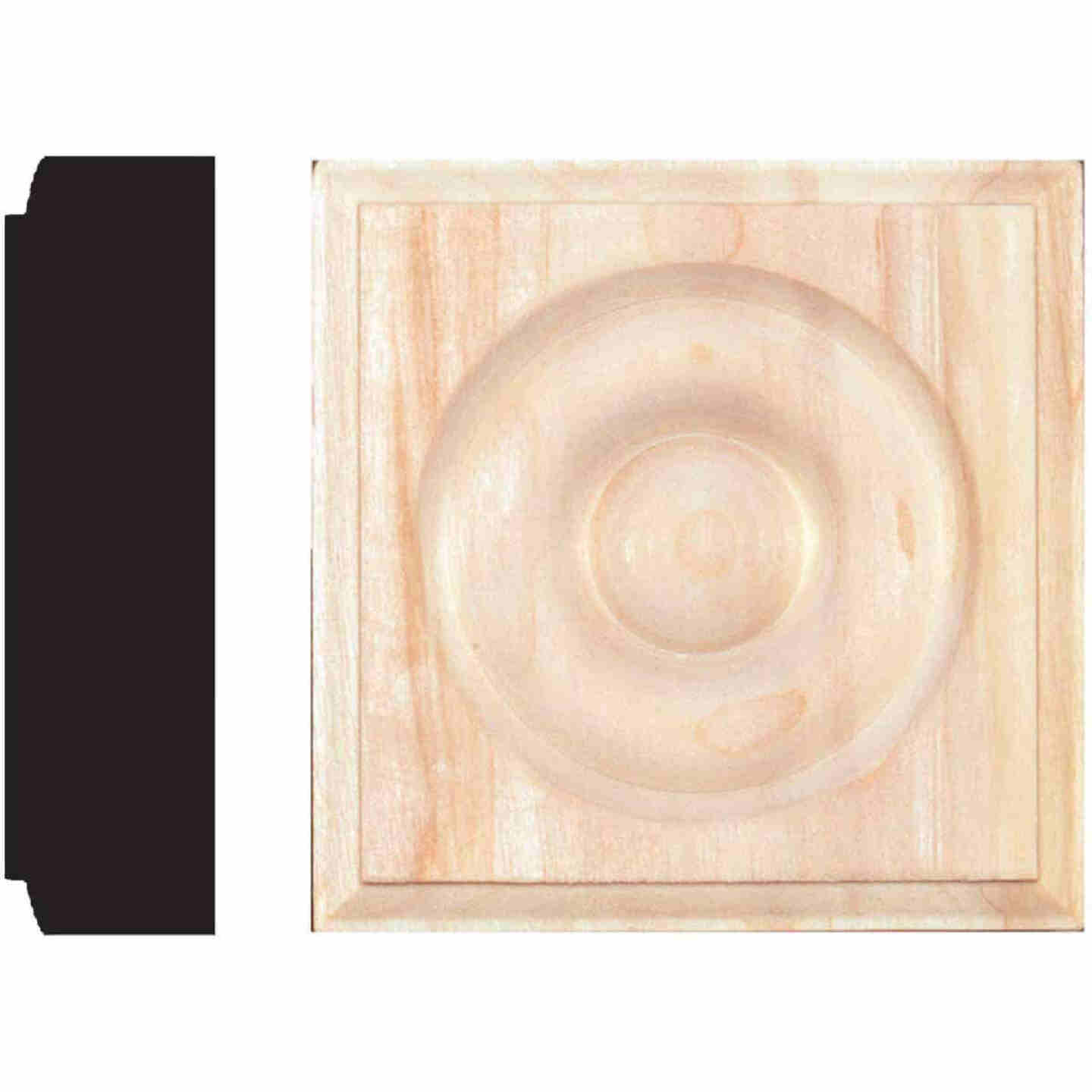 House of Fara 7/8 In. x 3-1/4 In. Unfinished Hardwood Rosette Block Image 1