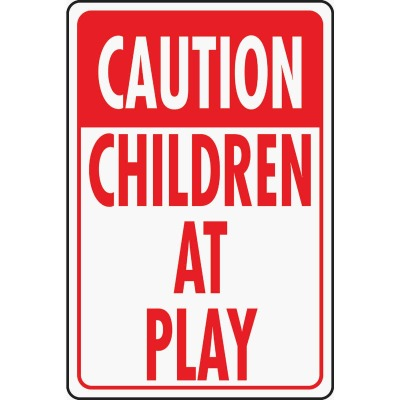 Hy-Ko Heavy-Duty Aluminum Sign, Caution Children At Play