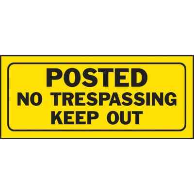 Hy-Ko Plastic Sign, Posted No Trespassing Keep Out