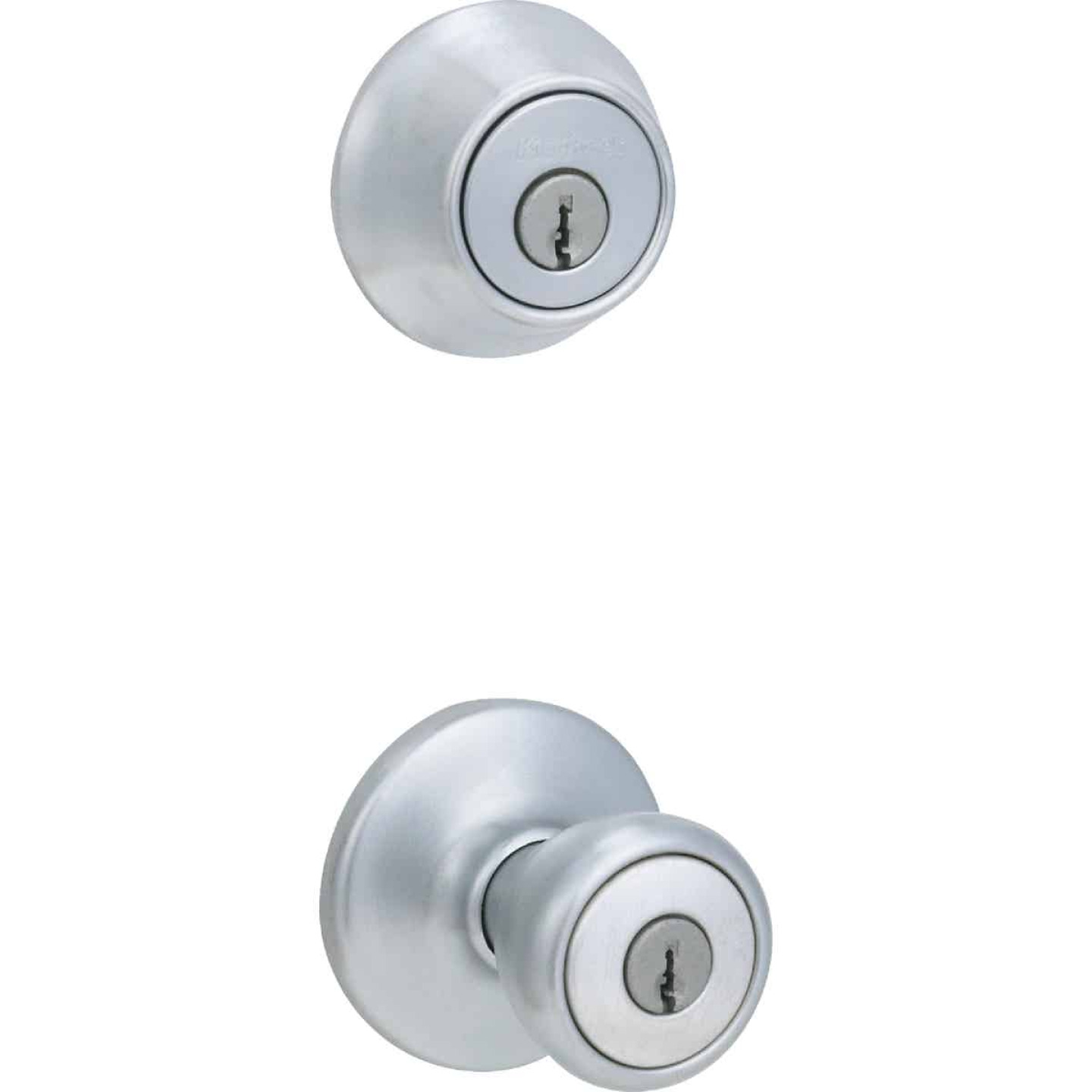 Kwikset Satin Chrome Deadbolt and Door Knob Combo Image 1