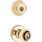 Kwikset Polo Polished Brass Deadbolt and Door Knob Combo Image 1