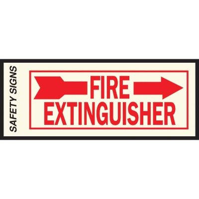 Hy-Ko Vinyl Sign, Fire Extinguisher with Arrow Right