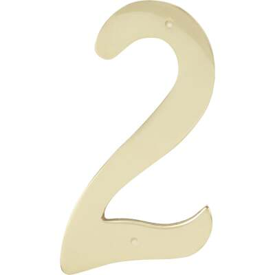 Hy-Ko 4 In. Polished Brass House Number Two