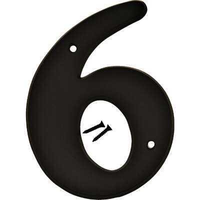 Hy-Ko 6 In. Black Gloss House Number Six