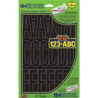 Hy-Ko 3 In. Black Vinyl Letters, Numbers & Symbols (184 Count)