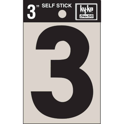 Hy-Ko Vinyl 3 In. Non-Reflective Adhesive Number Three
