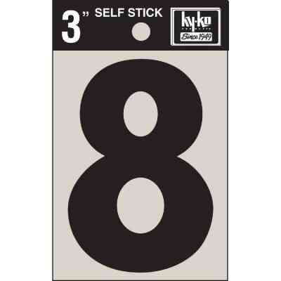 Hy-Ko Vinyl 3 In. Non-Reflective Adhesive Number Eight