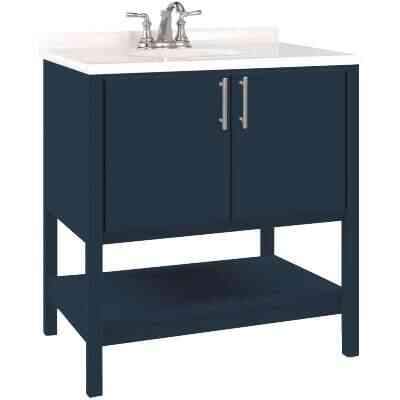Bertch Essence 30 In. W x 34-1/2 In. H x 21 In. D Cobalt Furniture Style Vanity Base, 2 Door