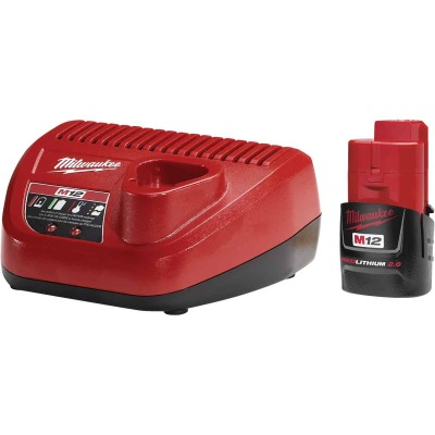 Milwaukee M12 REDLITHIUM 12 Volt Lithium-Ion 2.0 Ah Compact Tool Battery and Charger Starter Kit