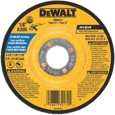 DeWalt HP Type 27 4-1 In. x 27/4 In. x 7/8 In. Stainless Grinding Cut-Off Wheel