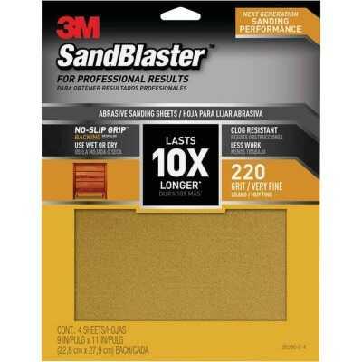 3M SandBlaster No Slip Grip Backing 11 In. x 9 In. 220 Grit Very Fine Sandpaper (4-Pack)