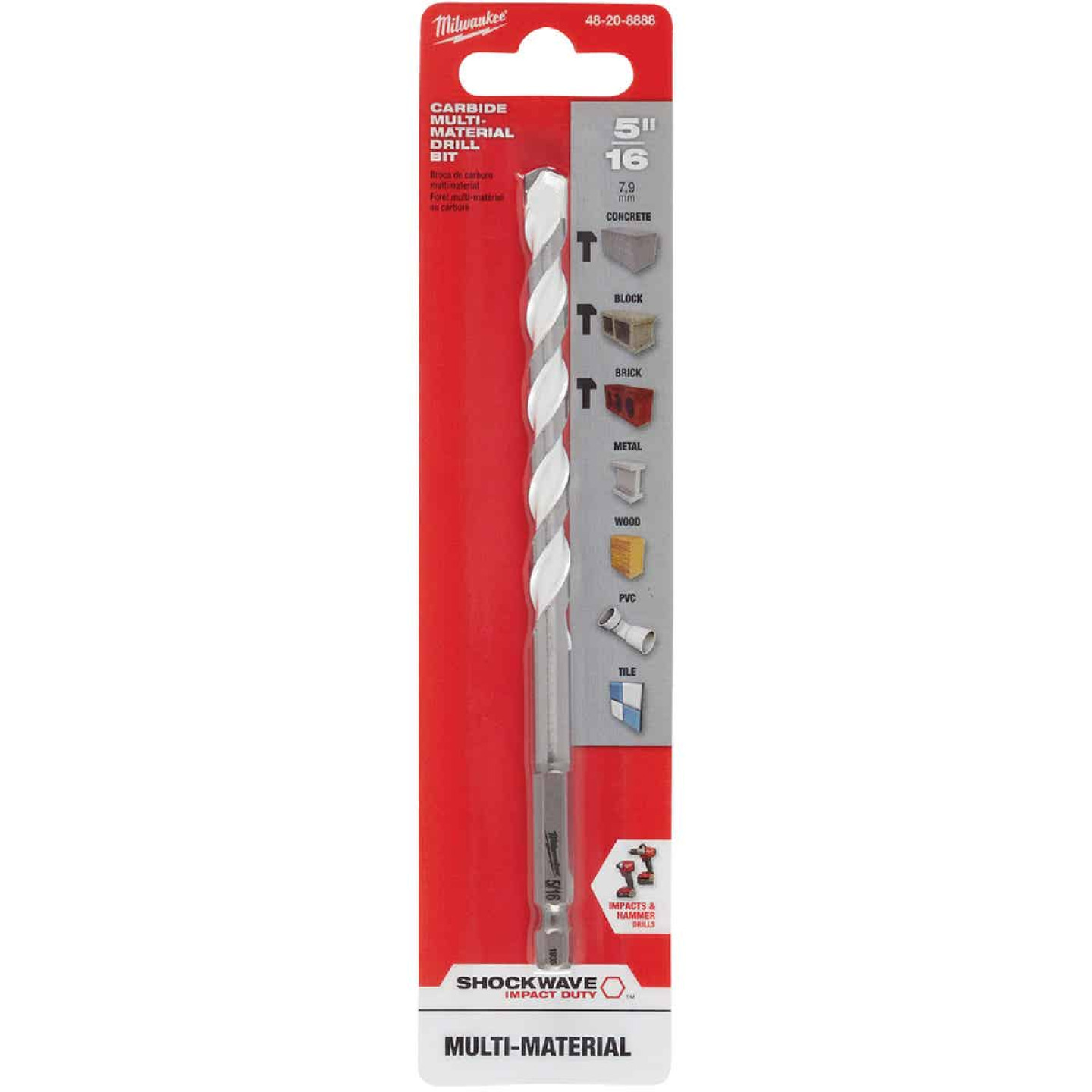 Milwaukee Shockwave 5/16 In. Carbide Multi-Material Hex Shank Drill Bit Image 2