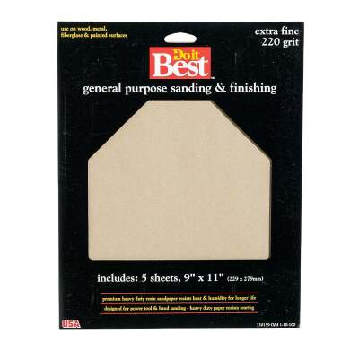 Do it Best General Purpose 9 In. x 11 In. 220 Grit Extra Fine Sandpaper (5-Pack)