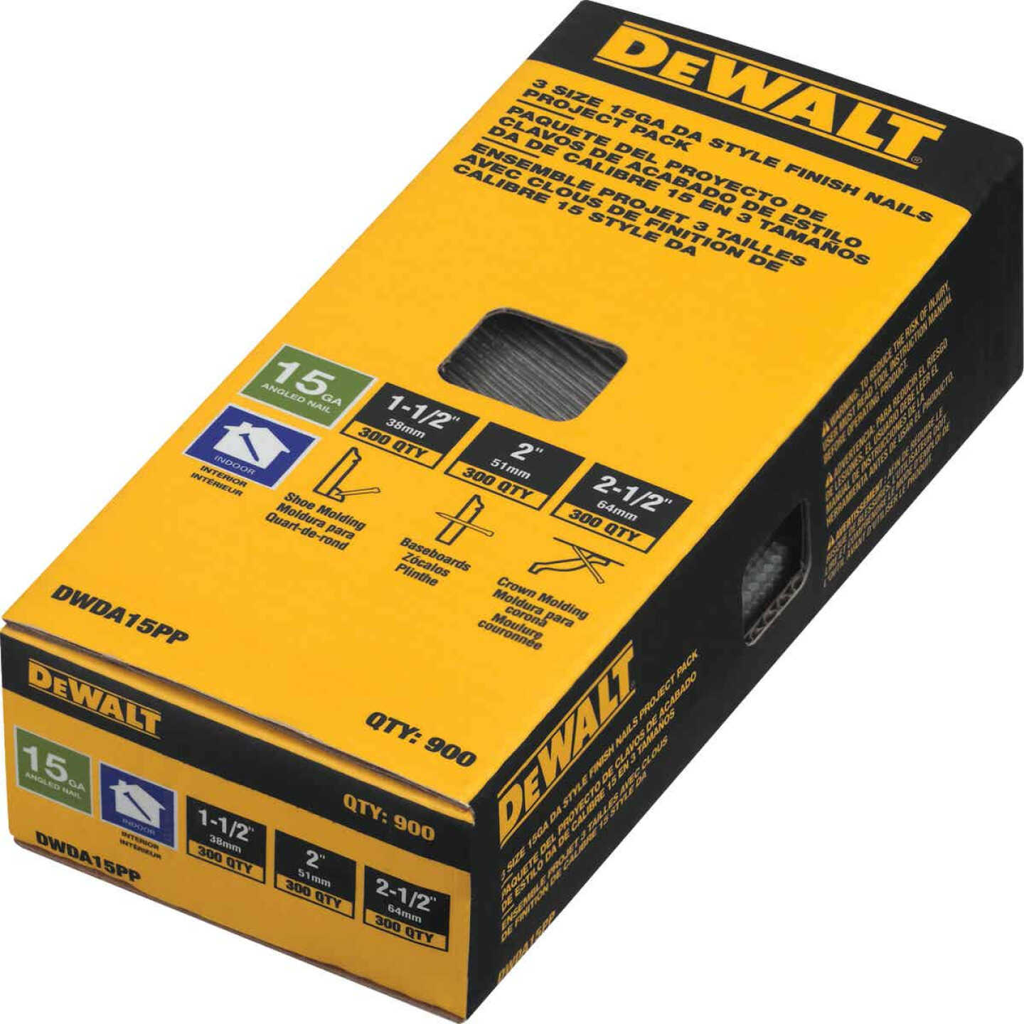 DeWalt 15-Gauge Bright DA-Style Angled Finish Nail Project Pack, 1-1/2 In., 2 In., 2-1/2 In. (900 Ct.) Image 2