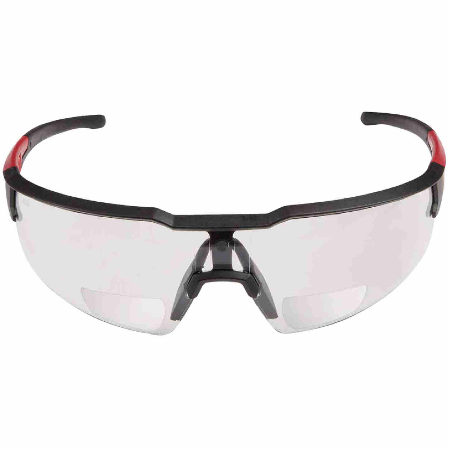 Milwaukee Red & Black Frame Safety Glasses with +2.00 Magnified Clear Anti-Scratch Lenses Image 3