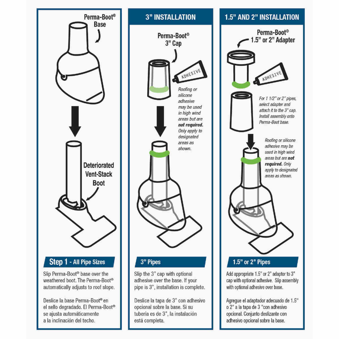 Perma-Boot TPO Plastic 3in1 Roof Pipe Flashing, fits 1-1/2 In., 2 In. & 3 In. Pipes Image 3