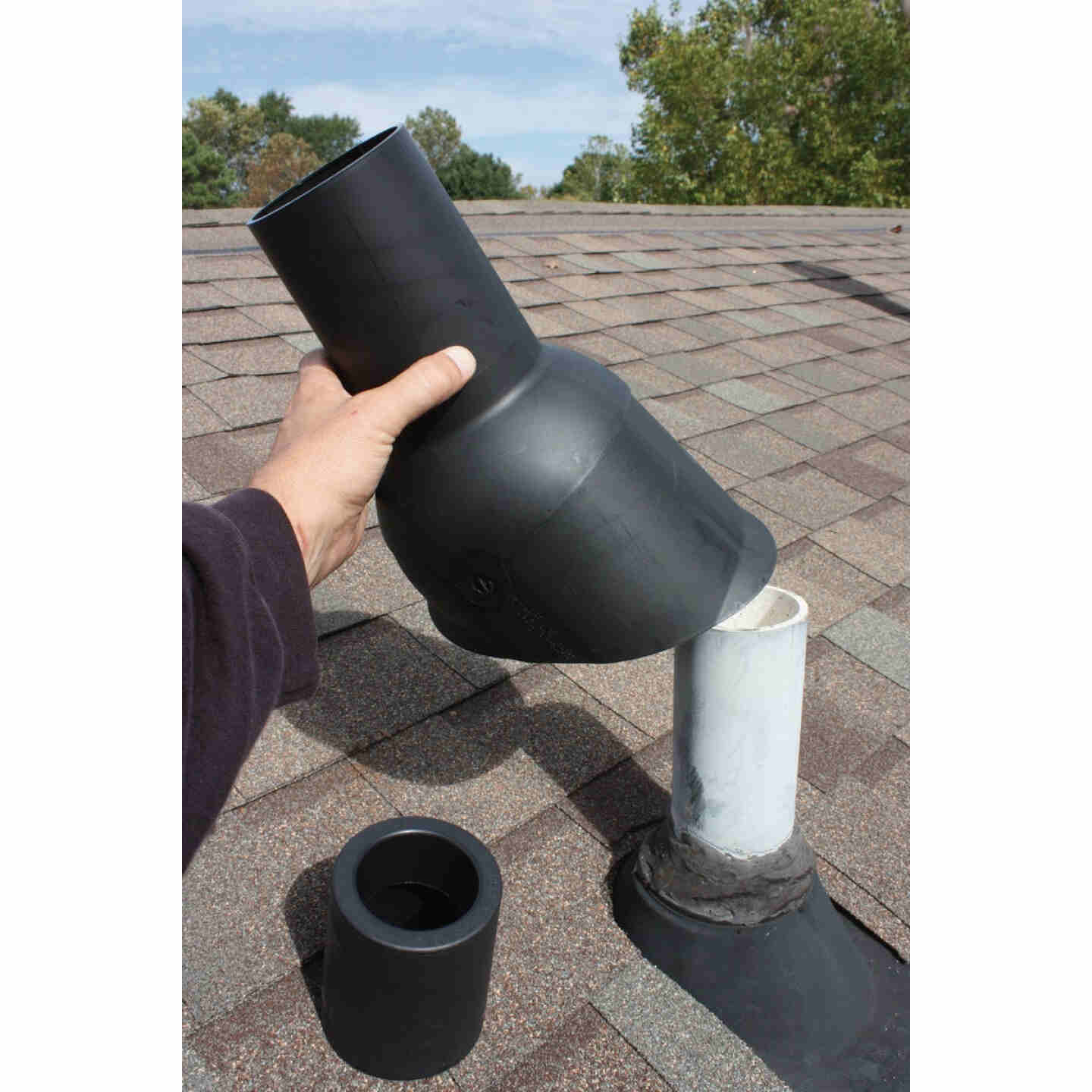 Perma-Boot TPO Plastic 3in1 Roof Pipe Flashing, fits 1-1/2 In., 2 In. & 3 In. Pipes Image 2