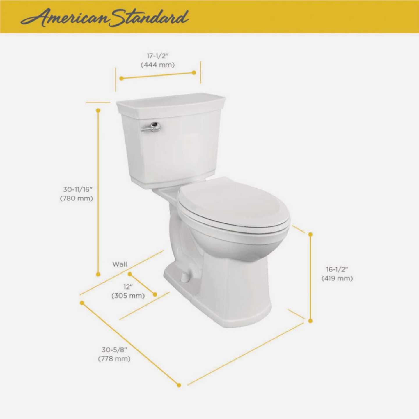 American Standard Astute VorMax Right Height White Elongated Bowl 1.28 GPF Complete Toilet Image 2