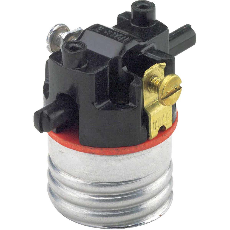 Leviton Push-Through Medium Base Black Interior Lamp Socket Image 1