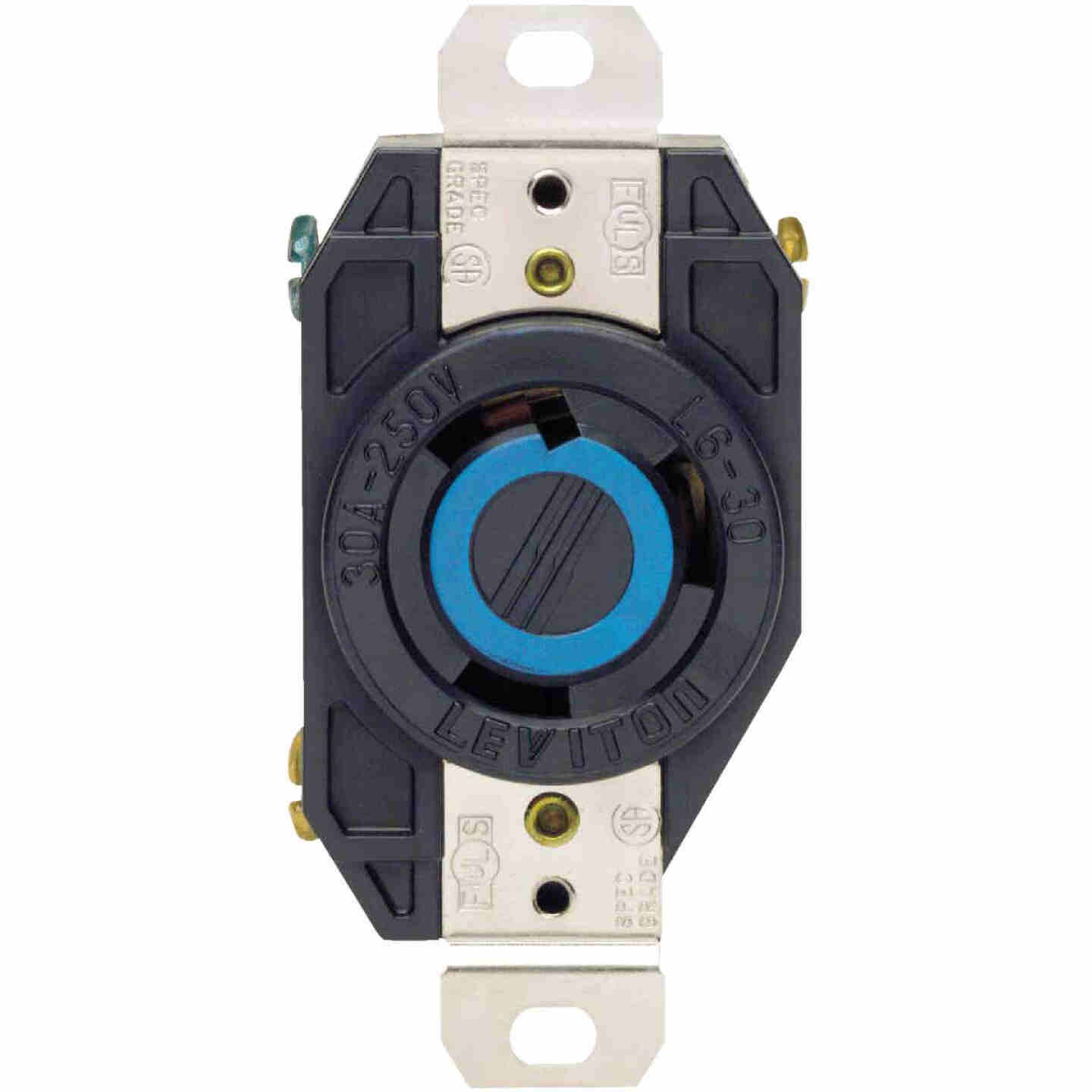 Leviton 30A 250V Black Industrial Grade L6-30R Locking Outlet Receptacle Image 2