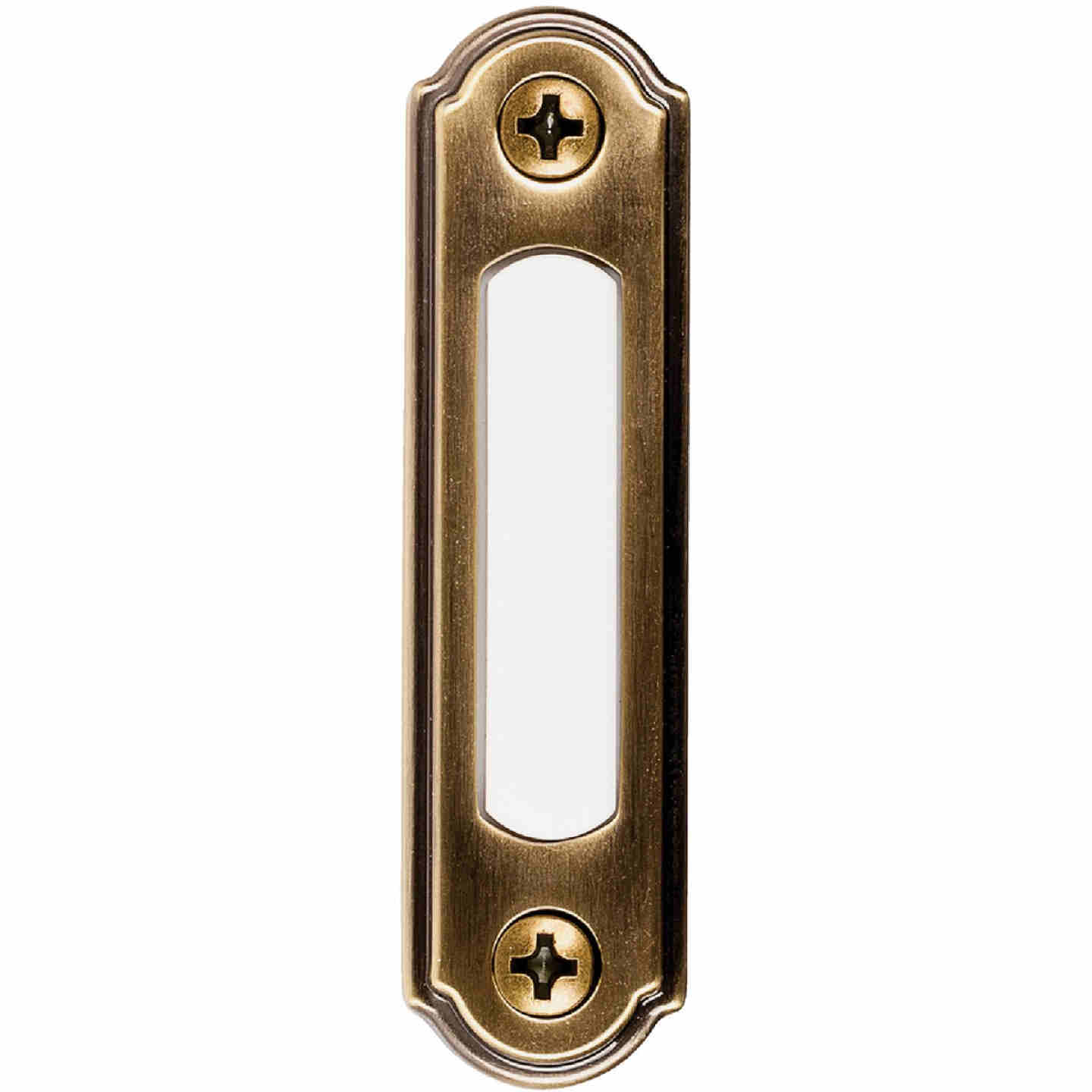 Heath Zenith Wired Antique Brass LED Lighted Doorbell Push-Button Image 1