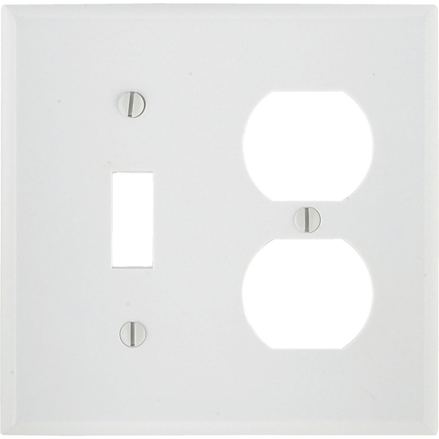 Leviton Oversized 2-Gang Thermoset Single Toggle/Duplex Outlet Wall Plate, White Image 1