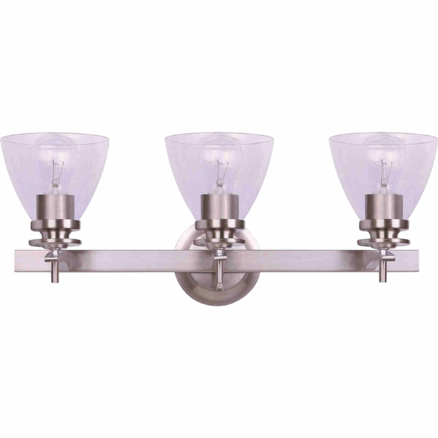 Home Impressions 3-Bulb Brushed Nickel Vanity Bath Light Fixture, Clear Glass Image 1