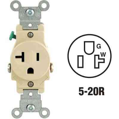 Leviton 20A Ivory Commercial Grade 5-20R Shallow Single Outlet