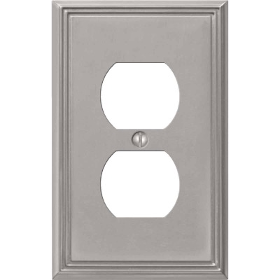 Amerelle Metro Line 1-Gang Cast Metal Outlet Wall Plate, Brushed Nickel