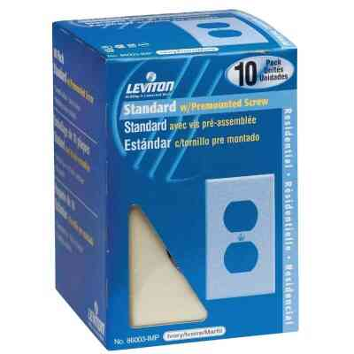 Leviton 1-Gang Smooth Plastic Outlet Wall Plate, Ivory (10-Pack)