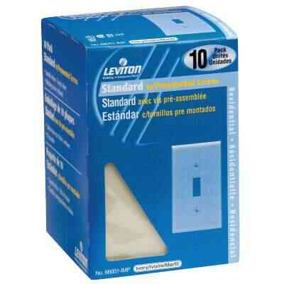 Leviton 1-Gang Plastic Toggle Switch Wall Plate, Ivory (10-Pack)