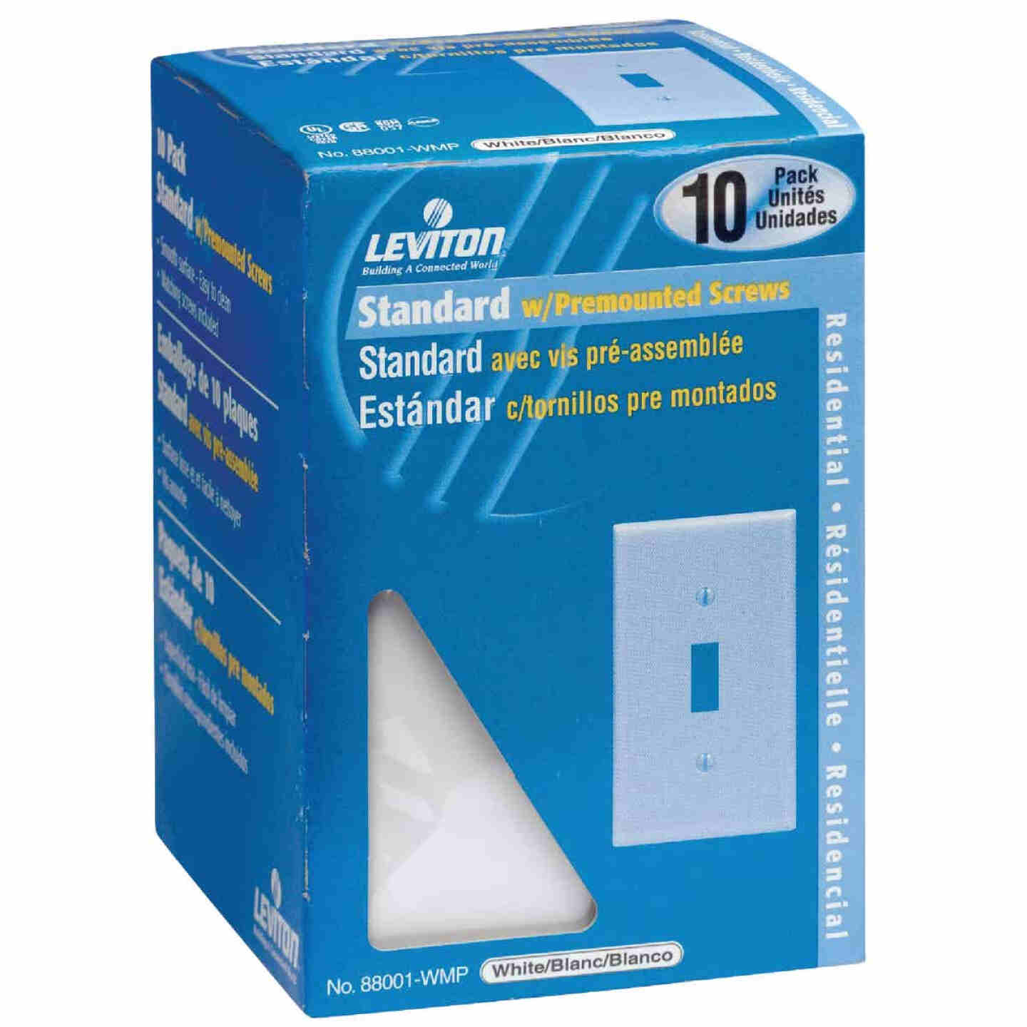 Leviton 1-Gang Plastic Toggle Switch Wall Plate, White (10-Pack) Image 1