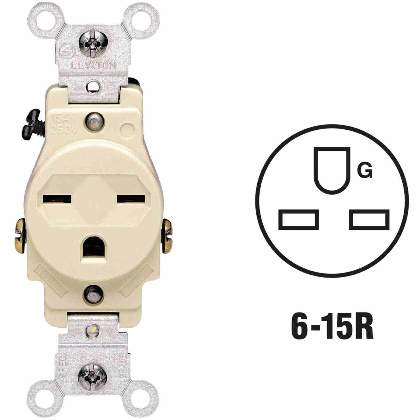 Leviton 15A Ivory Heavy-Duty 6-15R Grounding Single Outlet Image 1