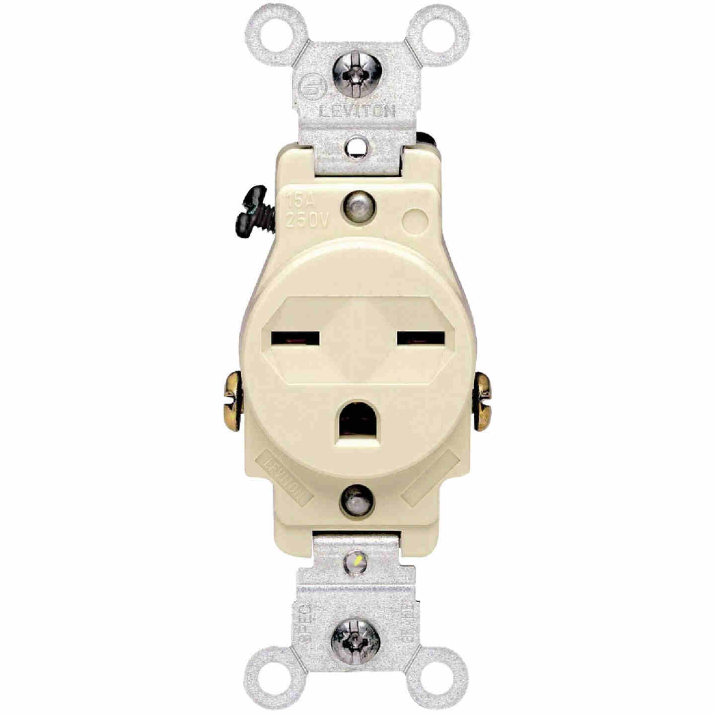 Leviton 15A Ivory Heavy-Duty 6-15R Grounding Single Outlet Image 2