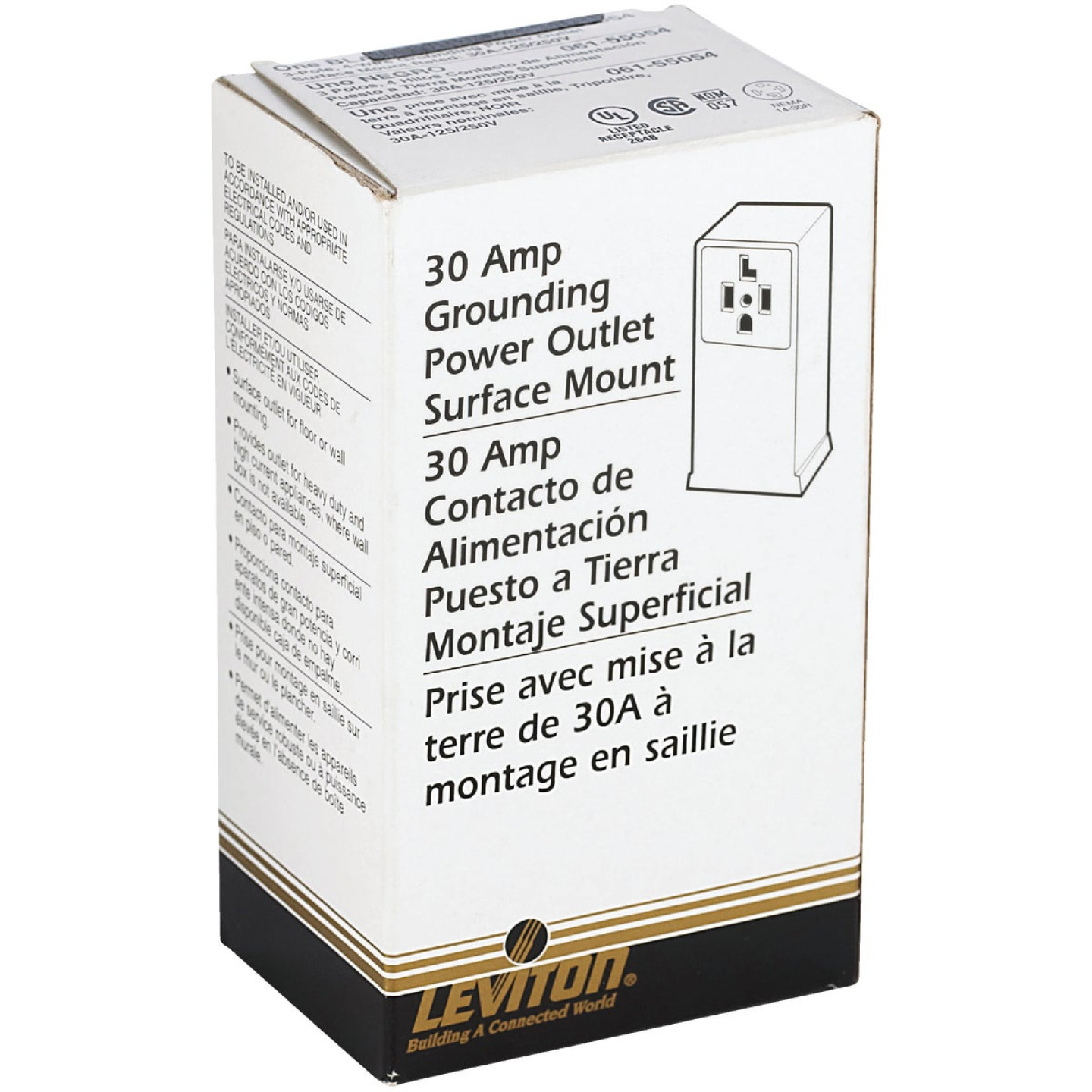 Leviton 30A Surface Mount Black 14-30R 4-Wire Dryer Power Outlet Image 3