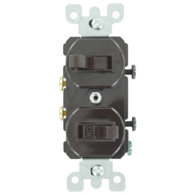 Leviton Single Pole Brown 15A Quiet Duplex Switch