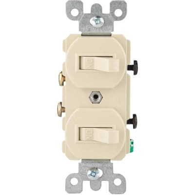 Leviton Single Pole Ivory 15A Quiet Duplex Switch