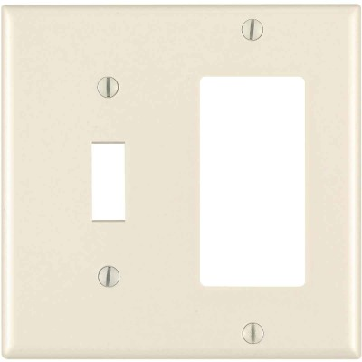 Leviton Decora 2-Gang Thermoset Single Toggle/Rocker Wall Plate, Light Almond