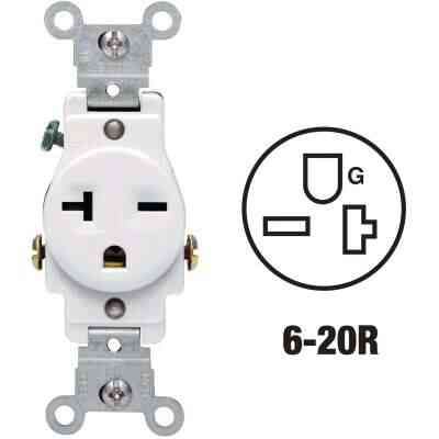 Leviton 20A White Heavy-Duty 6-20R Grounding Single Outlet