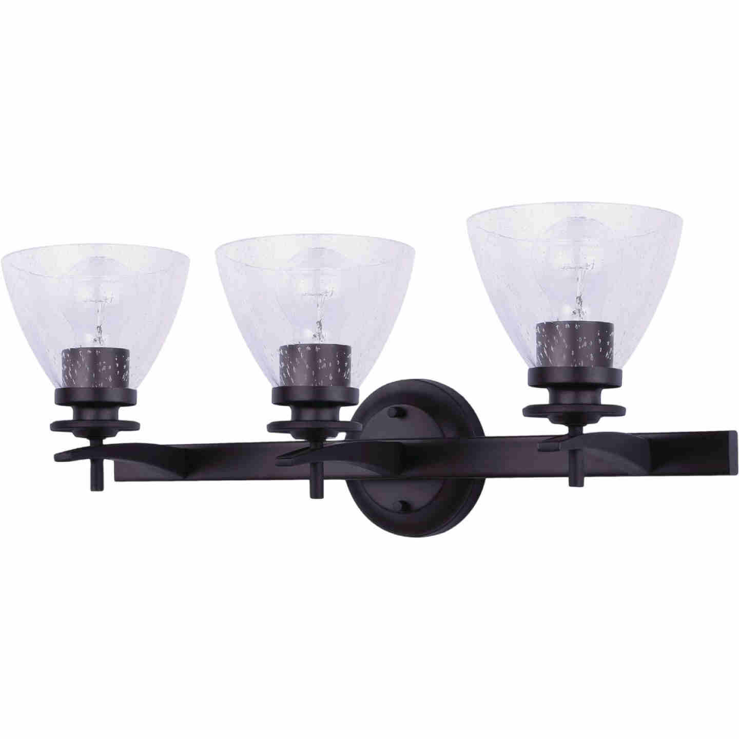 Home Impressions 3-Bulb Oil Rubbed Bronze Vanity Bath Light Fixture, Seeded Glass Image 1