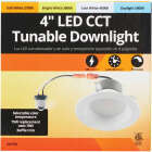 4 In. Retrofit IC Rated White LED CCT Tunable Down Light with Baffle Trim Image 2