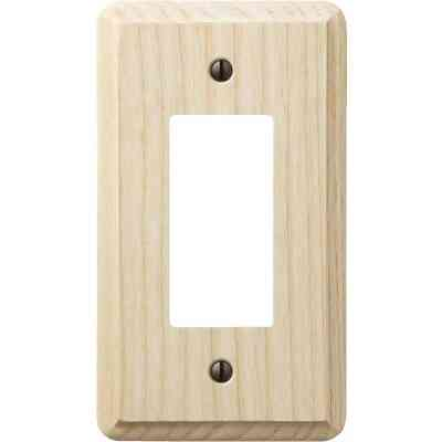 Amerelle 1-Gang Solid Ash Rocker Decorator Wall Plate, Unfinished Ash