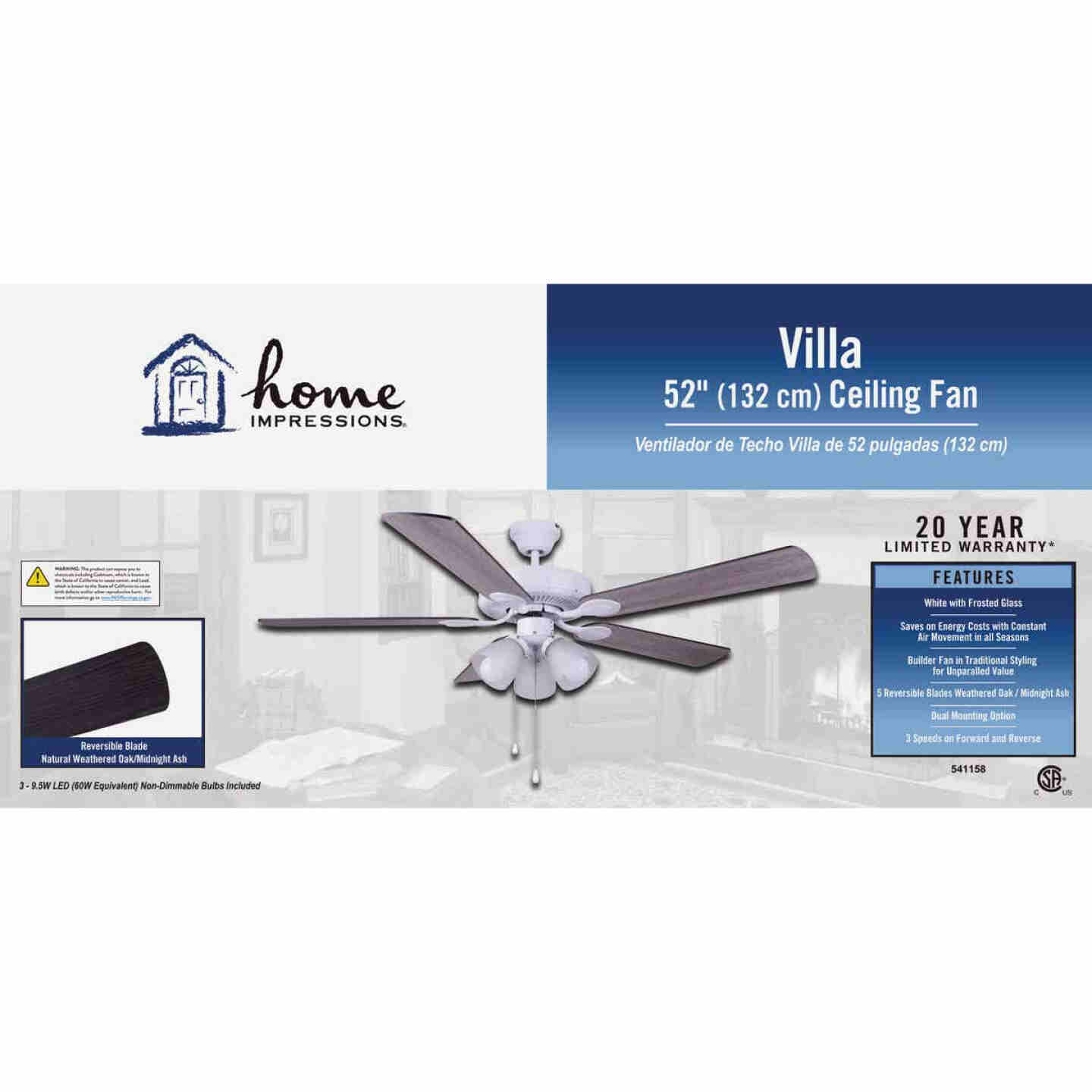 Home Impressions Villa 52 In. White Ceiling Fan with Light Kit Image 2
