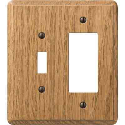 Amerelle 2-Gang Solid Oak Single Toggle/Rocker Wall Plate, Light Oak