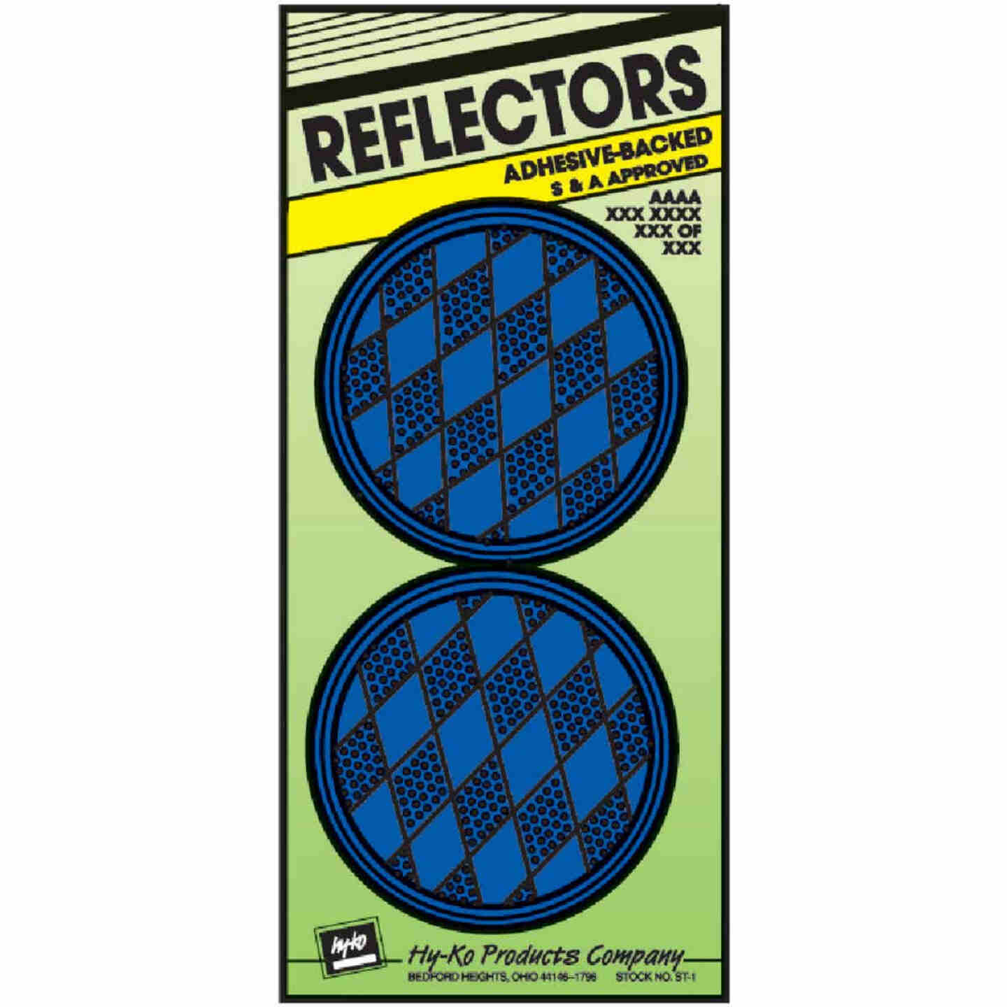 Hy-Ko 3-1/4 In. Dia. Round Blue Press-On Reflector (2-Pack) Image 1