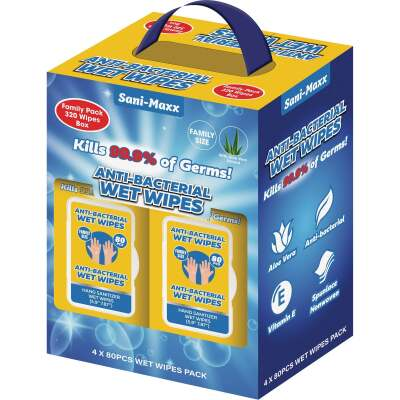Sani-Maxx Family Pack Antibacterial Disinfectant Wet Wipe