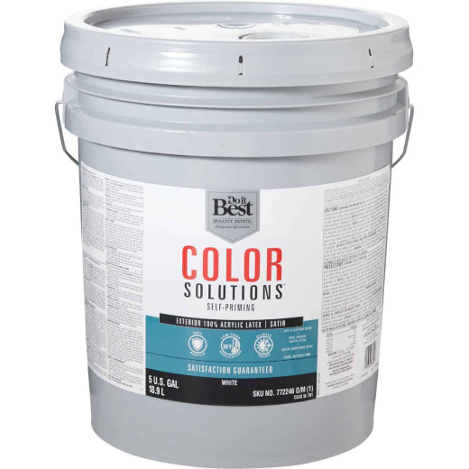 Do it Best Color Solutions 100% Acrylic Latex Self-Priming Satin Exterior House Paint, White, 5 Gal.