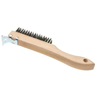 Best Look Wood Shoe Handle Wire Brush with Metal Scraper
