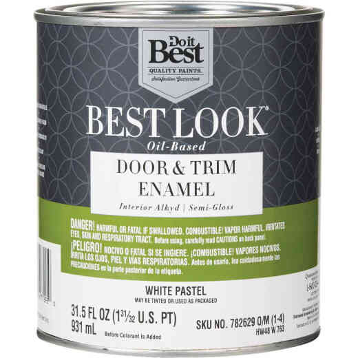 Best Look Alkyd/Oil Base Semi-Gloss Door & Trim Enamel Interior Wall Paint, White-Pastel Base, 1 Qt.